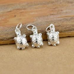 Collar colgante de tortuga pequeño brillante lindo original de plata esterlina