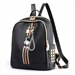 Moda doble raya vertical negro nylon escolar mochila