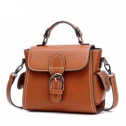 Bolso de hombro elegante de la PU de las mujeres del solo botón marrón retro