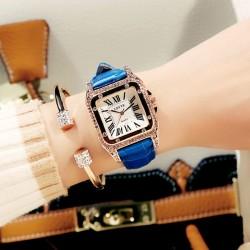 Brillante Cuadrado Estudiante Diamante de imitación Diamante Reloj de mujer