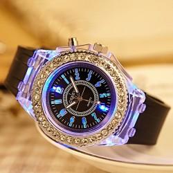 Personalidad Rhinestone Luces de colores luminosas Relojes
