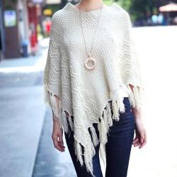 Nuevo otoño Leisure Leisure Hollow Tassel Irregular Cloak Hedging Cape Sweater