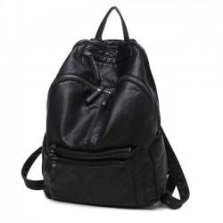 Señoras de cuero negro de moda Mochila grande simple de la universidad de las señoras