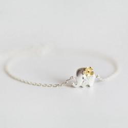 Pulsera de elefante lindo de plata amarilla flor fresca