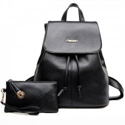 Ocio bolso de embrague negro simple PU regalo de viaje de la escuela Mochila