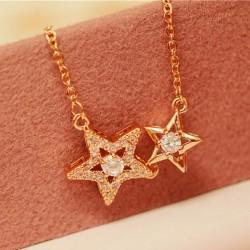 Romántico Doble Estrella Flash Diamante Colgante Collar de Clavícula