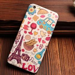 Casos suaves del silicón colorido del alivio del autobús de la ciudad de la torre Eiffel para Iphone 5 / 5S / 6 / 6S