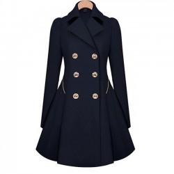 Abrigo de chaqueta de lana bodycon delgado con doble botonadura para mujer