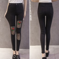 Moda Rose Bordado Black Mesh Ripped mujeres elásticas delgadas Ninth Jean Legging