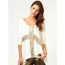 Camiseta clásica de algodón con cuello redondo y lentejuelas cruzadas
