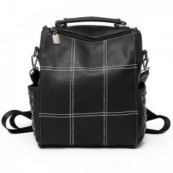 Vintage cuadrado PU cuero suave suave remache multifuncional bolso mochila escuela