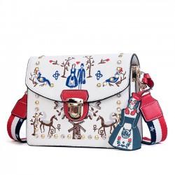 Bolso de hombro cuadrado pequeño pequeño bolso de mensajero bordado único de las mujeres del remache
