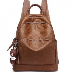 Mochila retro escolar estilo British Brown con tres cremalleras y bolso escolar