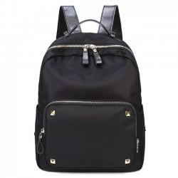 Moda simple nylon empalme PU remaches impermeable mochila escolar