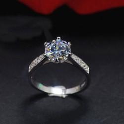 Anillo de plata romántico brillante de la boda del zircon de la boda del diamante clásico de plata