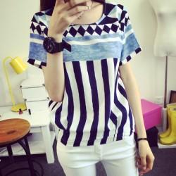 Ocio geométrico patrón rayas verticales manga corta camiseta suelta