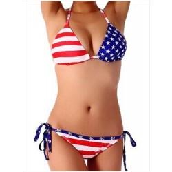 Bikini con corbata sexy y lazo con bandera americana