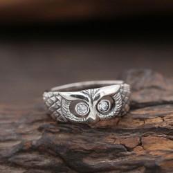 Creativo retro Diamante Búho Anillo de plata anillo de anillo abierto