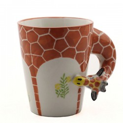 Taza / taza de cerámica pintadas a mano del modelo animal de la jirafa / del elefante 3D