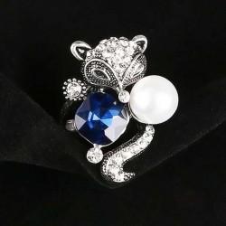 Lindo anillo de perlas de cristal azul Fox Animal conjunto de dos anillos