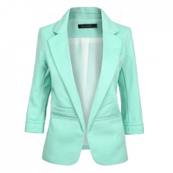 Color caramelo solapa collar OL laminado mangas chaqueta delgada traje femenino