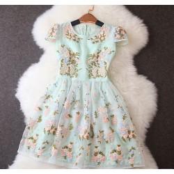 Bordado único costura estampado floral vestido de manga corta