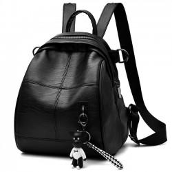 Ocio Chica PU Negro Impermeable Bolsa de cubo Mochila escolar simple Mochila de viaje