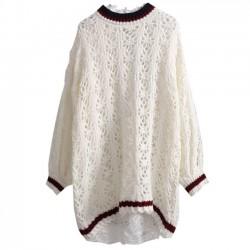 Vestido de suéter de diseño floral hueco ahuecado de la moda Vestido de suéter holgado sencillo informal