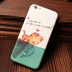El beso del gato Fish Milk Cow Pattern Soft Relief Silicone Cases para Iphone 5 / 5S / 6 / 6S
