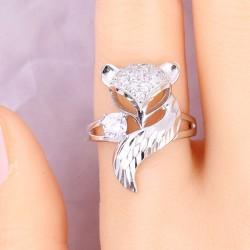 Diseño unico Plata zorro Abierto Animal Diamante Anillo de mujer