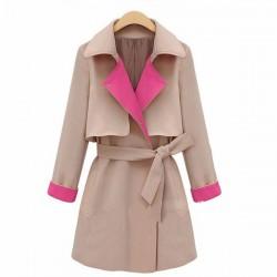 Nueva moda crema solapa cinturón mujeres arco cortaviento / chaqueta