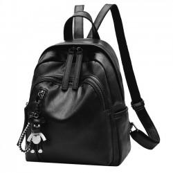 Ocio Chica impermeable PU bolsa de cubo negro Doble cremallera escuela mochila de cuero mochila de viaje