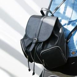 Casual Sólido Doble Cremallera bolsillos con cordón Cangilón Bolsa para la escuela Mochila de Viaje