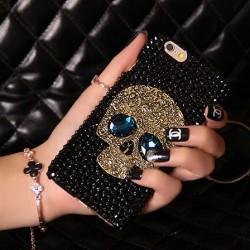 Retro Negro Cráneo Diamante de imitación Fundas Iphone 4 / 4s / 5 / 5s / 6