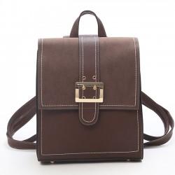 Bolso de hombro multifuncional retro de cuero de PU de color marrón Bolso cuadrado de botón único de color marrón