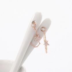 Vendimia Diamante Estrella Colgante 925 Plata Aguja Cadena Aretes
