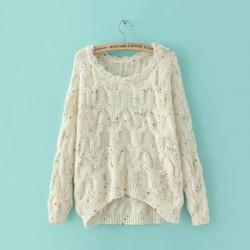 Suéter flojo de punto de color de cuello redondo nuevo irregular nuevo