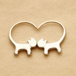 Chat mignon longue queue pendre kitty plata pendientes de las mujeres