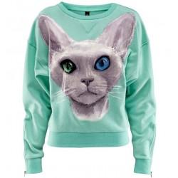 Sudadera de algodón suelta con estampado de gato de ojos azules