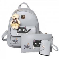 Linda Dibujos animados Bolsa para la escuela Muñeca del oso Empalme del mouse Gato PU Bote Mochila