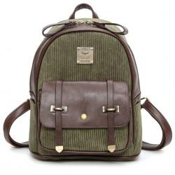 Mochila de estudiante de la mochila de la escuela del color de la PU del empalme de la pana de la muchacha retra
