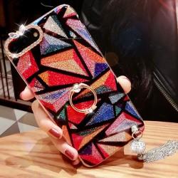 Elegantes borlas coloridas con bordes de diamantes Luminoso y lujoso Iphone 7/7 plus / 8/8 plus