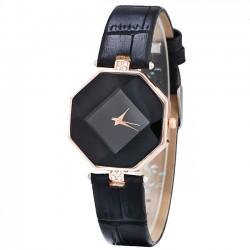 Formas geométricas únicas cristales incrustados incrustado correa pulsera de cuarzo reloj de las mujeres