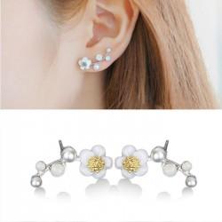 Flor de flor de ciruela dulce concha Pendientes de perlas