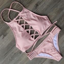 Cordón Arriba Sexy Bikini Establecer traje de baño playa traje de baño para mujer