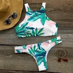 Ocean Palm Bikini de impresión conjunto nuevo traje de baño sexy de las mujeres traje de baño traje de baño