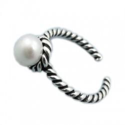 Flor de mujer retro Pearl Star Twist Abrir anillos de plata