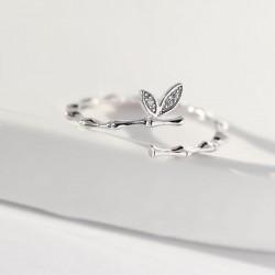 Anillo abierto de regalo de novia de plata de dos hojas de rama linda