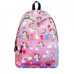 Linda Dibujos animados Escuela intermedia Bolsa de estudiante Niña unicornio Arco iris Mochila Pony