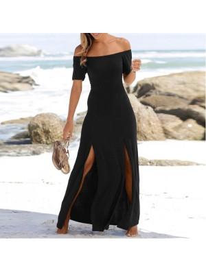Moda negro manga corta dividida sin tirantes vestido de fiesta largo vestido de verano